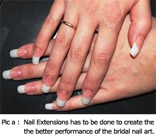 Nail Extensions has to be done to create the better performance of the bridal nail art.
